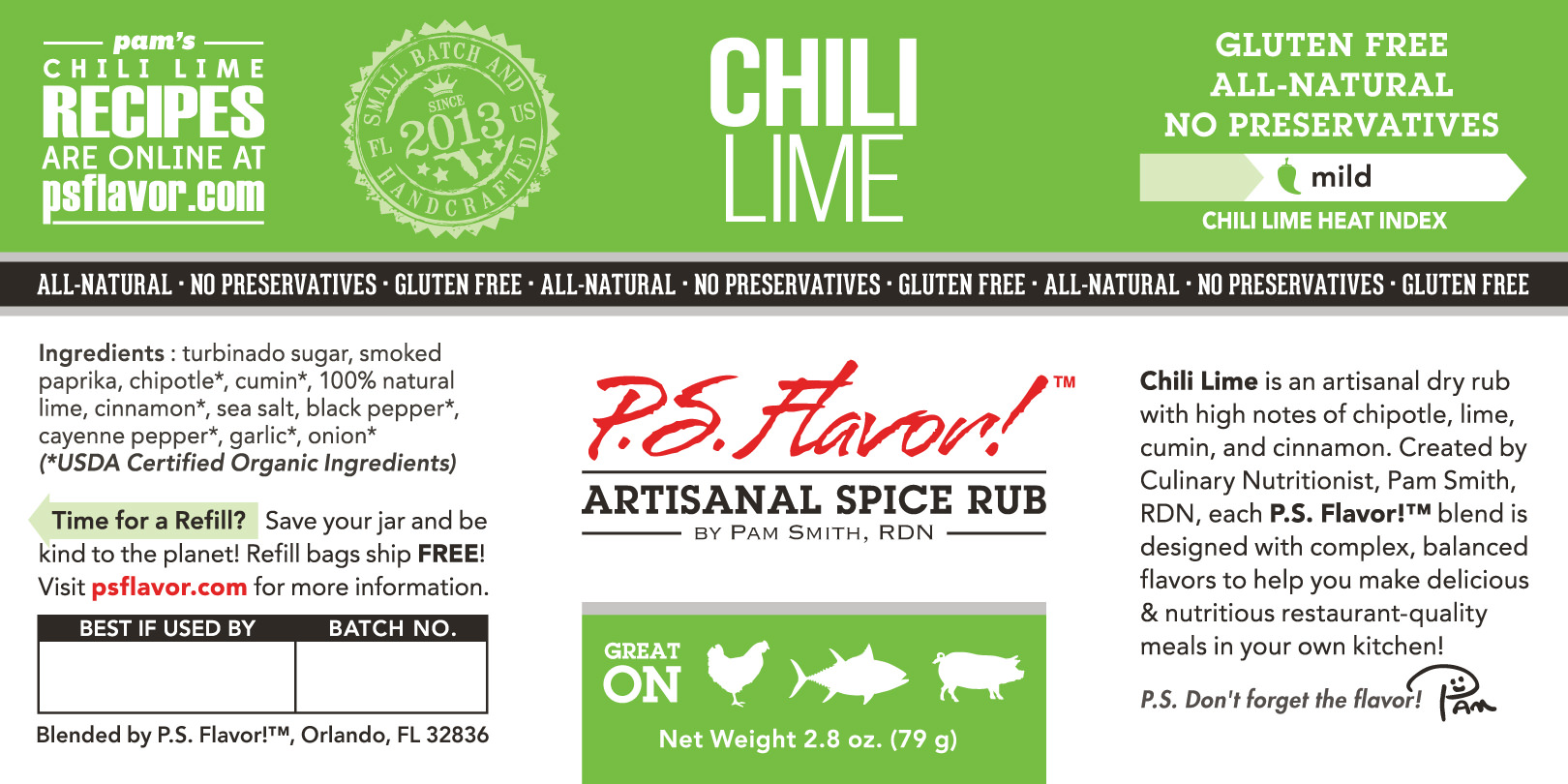p s  flavor!™ small bulk pet jar label design and product