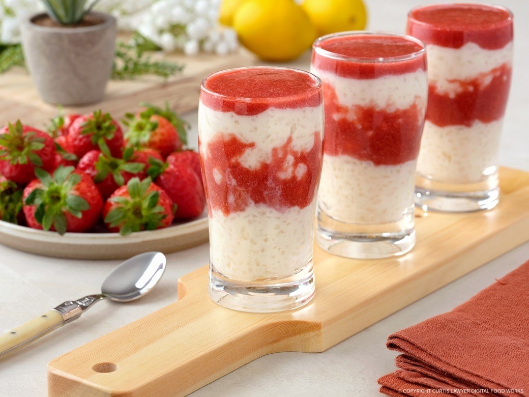 rice cream with strawberry sauce great for breakfast, brunch, or dessert featuring monin® products
