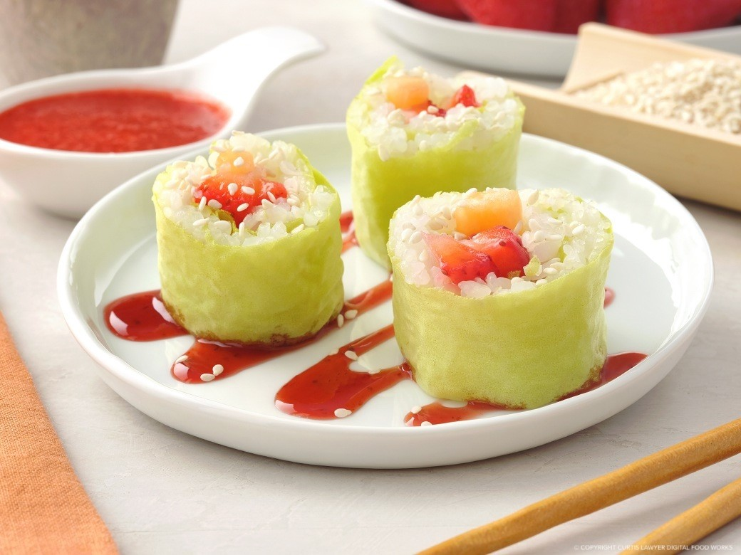 cantaloupe and strawberry frushi a new summertime brunch classic featuring monin® products